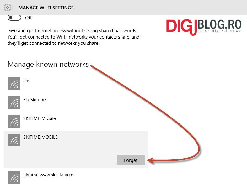gestioneaza profil wi-fi